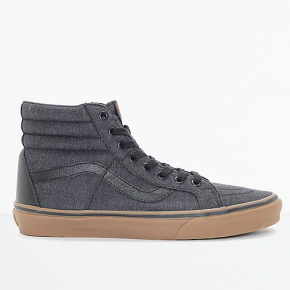 e287d94159 Vans Sk8-Hi CL Black Denim & Gum Skate Shoes Men's